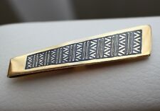 Gold Plated SILVER 925 Vintage USSR Men's Tie Clip Clasp Pin Niello enamel Solid