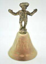 """Vintage Metal Hand Bell Cowboy Handle Etched Base Design Silver Color 4"""""""