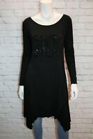 CHARLIE BROWN Brand Black Sequins Peace Asymmetric Dress Size 12 BNWT #HG69