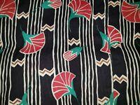 VTG Skirt Vintage 80s 90s Art Deco Tulip Floral Striped Print Black Midi Sz M/L