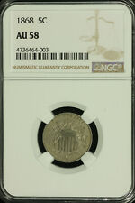 Shield Nickel. 1868 NGC AU 58. Lot # 4736464-003
