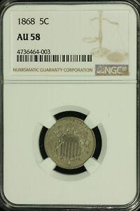 Shield Nickel. 1868 NGC AU 58. Lot # 4736464-003