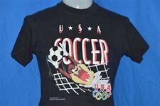 vtg 90s Looney Tunes Taz Devil Usa Soccer Olympics Black t-shirt Youth Medium Ym