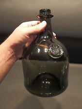 "10"" Antique Vintage Style Black Glass Blown Mallet Onion Wine Bottle Green"