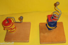 Early 1950s British Wooden Ring Stacking Toys Nice Colors! Nice See!