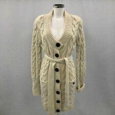 Burberry Cashmere Wool Cable Knit Cardigan UK 12-14 Ivory Longline Belt 301552