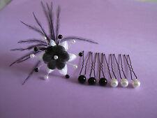 Lot pics/bijou/épingle Cheveux accessoires Mariée/Mariage Fleur/Perle Blanc/Noir