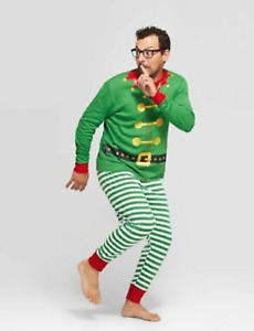 Wondershop Holiday Men's 2 PC Long Sleeve Christmas Elf Pajama Set Green Striped