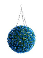 Best Artificial 28cm Blue Rose Topiary Hanging Flower Ball Grass Plant New