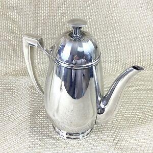 Christofle Coffee Pot Jug Vintage French Art Deco Silver Plated Geometric