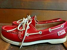 Women's Quoddy Boat Shoe 5.5 B Red Leather Handmade Moccasins