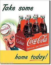 """COCA Cola/Coke, prendere a casa oggi, Stile Retrò In Metallo Muro Firmare 12.5""""X 16"""" (41X30 cm)"""