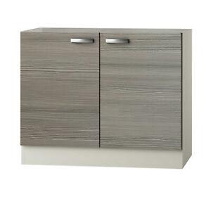 Küchen-Spülenunterschrank TOLEDO - 2-türig - 100 cm breit - Pinie Nougat