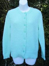 M - Vintage 80's Womens Mint Green Knitted Cardigan Retro Granny Jumper - C799