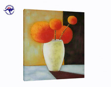 THE ORANGE MODERN FLOWERS ART HANDMADE ON CANVAS-2 SIZES WOODEN BLACK FRAME