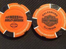 "Harley Davidson Poker Chip (Orange & Black) ""Nees"" Galesburg, Illinois"