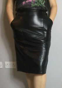 VTG Belfe Made In Italy Black Real Leather Paperbag Waist Pencil Midi Skirt 12