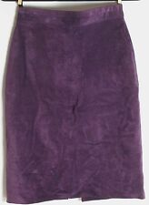 Bushwacker Purple Suede Skirt Woman Sz 10 Dark Leather Lined Pencil Straight