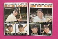 1964 TOPPS CARL YASTREMSKI + HARMON KILLEBREW LEADERS CARD (INV# J0206)