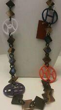 Gorgeous Buffalo Horn multi color long link necklace