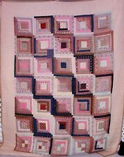 Antique 1870 Mennonite Log Cabin Straight Furrows Quilt Pinks Browns Appraised