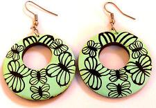 BOUCLES D'OREILLES BOIS vert fleur ETHNIQUE BIJOUX WOODEN EARRINGS wood green