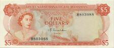 CENTRAL BANK OF BAHAMAS 5 DOLLARS 1974 - SCARCE LOVELY CHOICE CRISP AU/UNC
