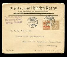 DUTCH EAST INDIES 1923 ZOOLOGICAL MUSEUM INSECTS 12 1/2c + 7 1/2c to USA