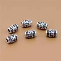 6 Sterling Silver Butterfly Barrel Beads 925 Silver for Bracelet