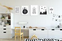 Set of 5 Boys Bedroom Prints / Pictures for Playroom Kids Room / Black & White