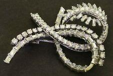 1960's heavy Platinum 9.0CT VS1/F diamond large ribbon brooch
