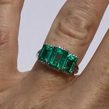 Incredible Vibrant Green 4.14CT Emerald With Round Fine CZ Three Stone Fine Ring