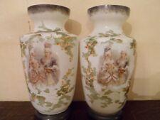 2  vases de cheminée en opaline dessiné main -  Pompadour - 6 photos