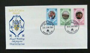 Turks & Caicos Islands-1981-Charles & Diana Royal Wedding FDC-Grand Turk