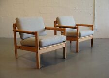 set of 2 original Svein Bjørneng solid pine arm chairs by bruksbo møbler wegner