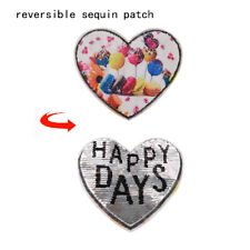 Balloon Love Heart Reversible Change Sequin Sew On Clothes Patch Diy T-Shirt GL