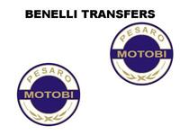 Benelli Motobi Tank Transfers and Decals Sold as a Pair White Gold Blue