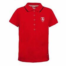 Puma Ferrari Pique Polo Top Short Sleeve Womens Red T-Shirt 566257 02