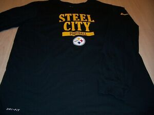 NIKE DRI-FIT ATHLETIC CUT PITTSBURGH STEELERS LS BLACK T-SHIRT MENS LARGE EXC.
