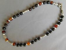 COLLIER PERLE RONDE PLAQUE ARGENT PIERRE NATURELLE AGATE MARRON STONE NECKLACE