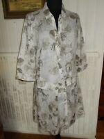 Robe courte coton leger beige imprimé LADY CAPTAIN 40 Manche 3/4 boutons décalé