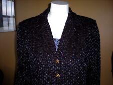 ST JOHN COLLECTION  Dark Brown & Blue Jacket Blazer Gold Buttons Size 8