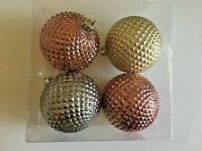 4 Copper Silver Gold Christmas Shatter Resistant 3 Inch Ornament Decoration