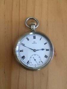 Vintage Antique Omega Pocket Fob Watch Roman Numerals