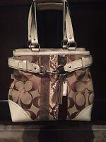 Pre-Owned Coach Hampton Signature Python Stripe Multi Color Tote Handbag