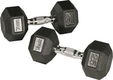 York Barbell 34065 Rubber Hex Dumbbell with Chrome Ergo Handle - 50 lbs