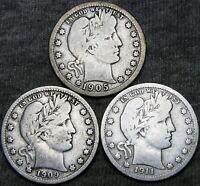 1905 +1909-D +1911-D Barber Quarter Dollars Silver ---- NICE LOT ---- #A051