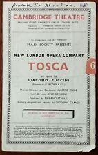 Tosca by Puccini, Cambridge Theatre Programme 1948