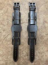 Size 20/22mm Anti-Allergy Leather Army Pilot Bund Style Watch Strap/Band #072B