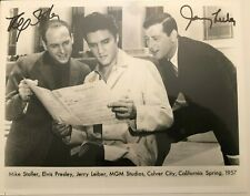 Jerry Lieber & Mike Stoller Signed Photo w/ Elvis Presley Songwriters Autographs